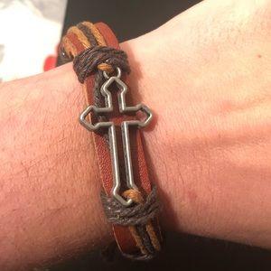 Jewelry - Unisex Leather Silver Cross Bracelet Adjustable